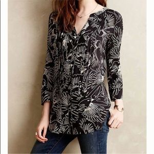 Anthropologie Maeve Black Bird Print Button Blouse